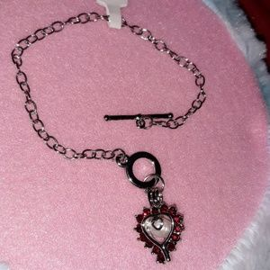 Heart Pearl Cage Toggle Bracelet & White Pearl